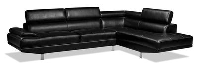 Theo 2-Piece Leather-Look Fabric Right-Facing Sectional - Black|Sofa sectionnel de droite Theo 2 pièces en tissu d'apparence cuir - noir|THEOBKSR