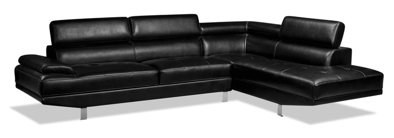 Theo 2-Piece Leather-Look Fabric Right-Facing Sectional - Black - {Modern} style Sectional in Black {Plywood}, {Solid Woods}