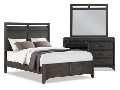 Theo 5-Piece Queen Bedroom Package - Charcoal|Ensemble de chambre à coucher Theo 5 pièces avec grand lit - anthracite|THEOBQP5