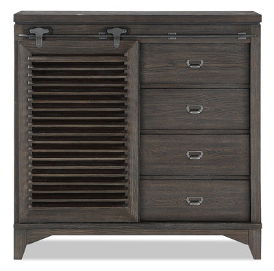 Theo Sliding Door Chest - Charcoal - {Modern} style Chest in Charcoal {Poplar}, {Oak}