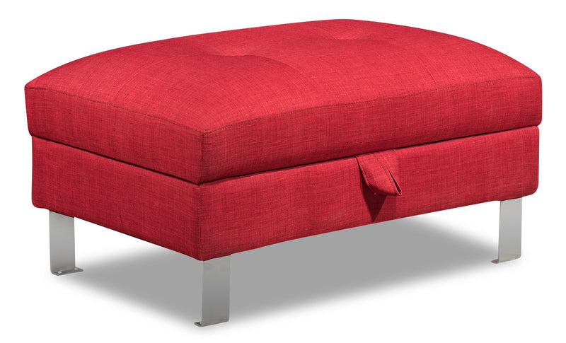 Theo Linen-Look Fabric Storage Ottoman - Cherry - {Modern} style Ottoman in Cherry {Plywood}, {Solid Woods}