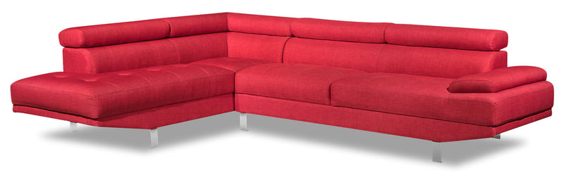 Theo 2-Piece Linen-Look Fabric Left-Facing Sectional - Cherry - {Modern} style Sectional in Cherry {Plywood}, {Solid Woods}