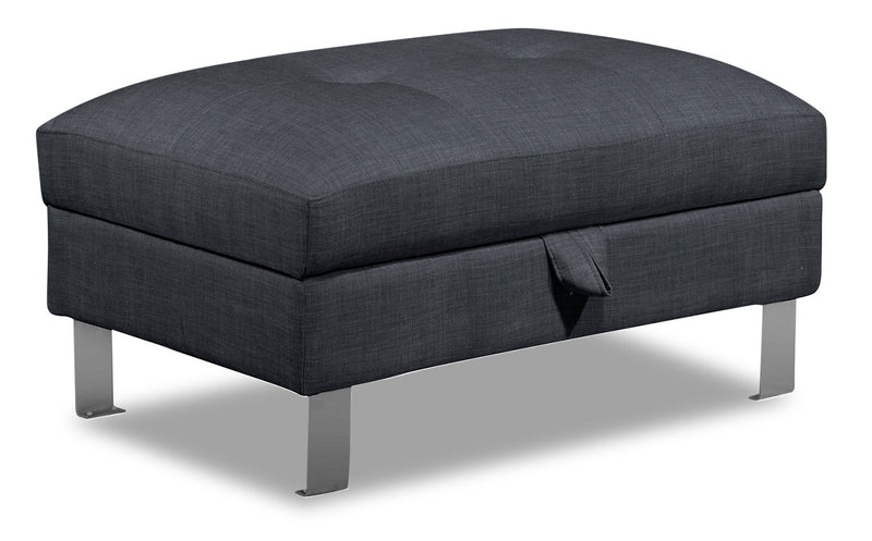 Theo Linen-Look Fabric Storage Ottoman - Denim - {Modern} style Ottoman in Denim {Plywood}, {Solid Woods}