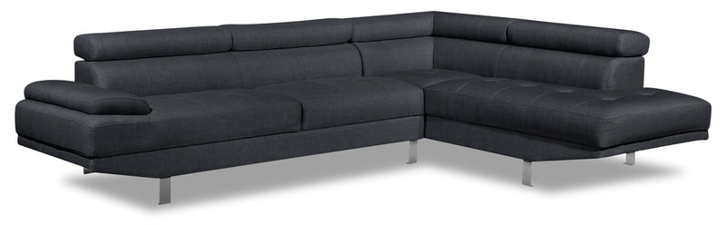 Theo 2-Piece Linen-Look Fabric Right-Facing Sectional - Denim - {Modern} style Sectional in Denim {Plywood}, {Solid Woods}