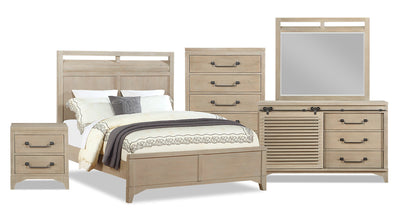 Theo 7-Piece Queen Bedroom Package - Dovetail Grey|Ensemble de chambre à coucher Theo 7 pièces avec grand lit - gris tourterelle|THEOGQP7