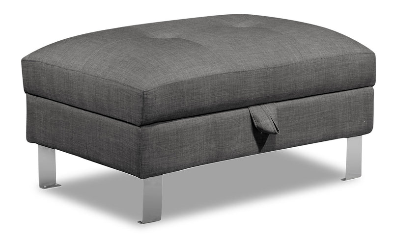Theo Linen-Look Fabric Storage Ottoman - Steel - {Modern} style Ottoman in Steel {Plywood}, {Solid Woods}