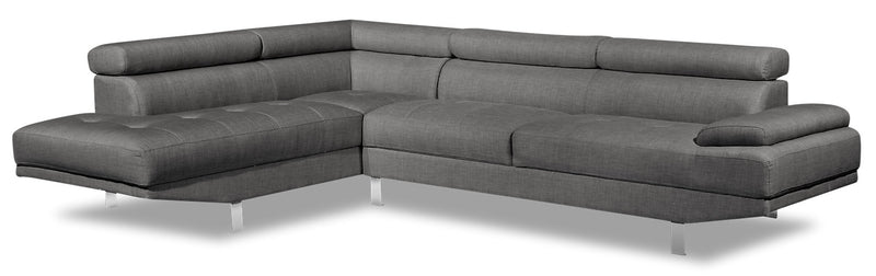 Theo 2-Piece Linen-Look Fabric Left-Facing Sectional - Steel - {Modern} style Sectional in Steel {Plywood}, {Solid Woods}