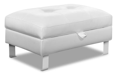 Theo Leather-Look Fabric Storage Ottoman - White|Pouf de rangement Theo en tissu d'apparence cuir - blanc|THEOWHOT
