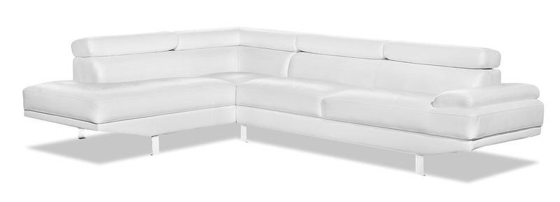 Theo 2-Piece Leather-Look Fabric Left-Facing Sectional - White|Sofa sectionnel de gauche Theo 2 pièces en tissu d'apparence cuir - blanc|THEOWHSL