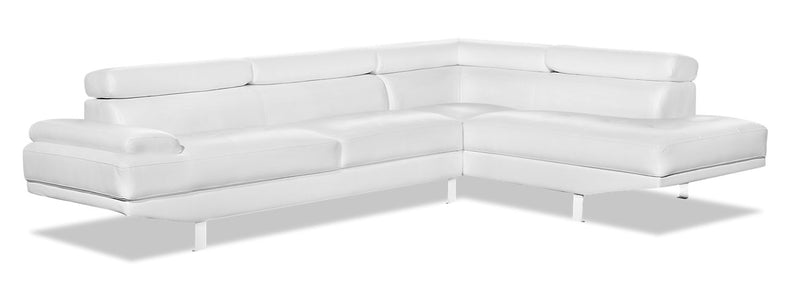 Theo 2-Piece Leather-Look Fabric Right-Facing Sectional - White - {Modern} style Sectional in White {Plywood}, {Solid Woods}
