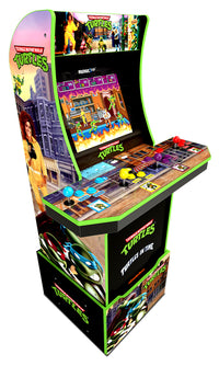 Borne de jeu Arcade1Up Teenage Mutant Ninja TurtlesMD avec plateforme.