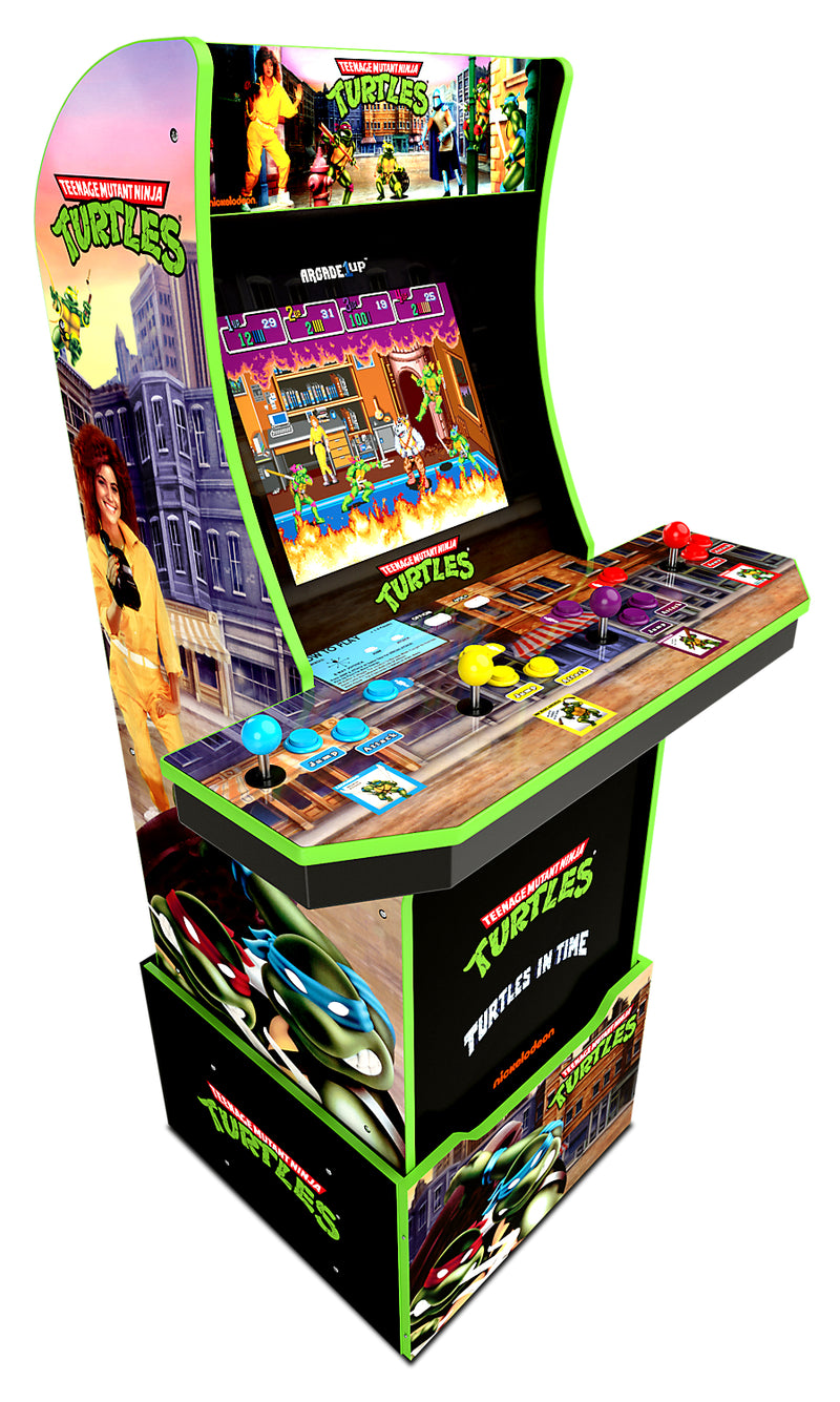 Arcade1Up Teenage Mutant Ninja Turtles™ Arcade Cabinet with Riser|Borne de jeu Arcade1Up Teenage Mutant Ninja TurtlesMD avec plateforme.