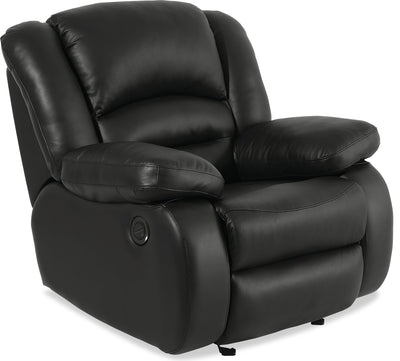 Toreno Genuine Leather Power Recliner - Black - {Contemporary} style Chair in Black {Plywood}, {Solid Woods}