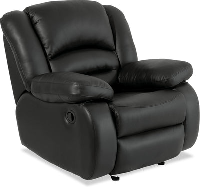 Toreno Genuine Leather Recliner - Black - {Contemporary} style Chair in Black {Plywood}, {Solid Woods}