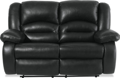 Toreno Genuine Leather Reclining Loveseat - Black - {Contemporary} style Loveseat in Black {Plywood}, {Solid Woods}