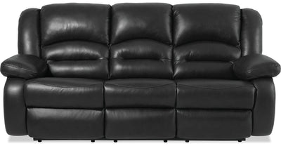 Toreno Genuine Leather Reclining Sofa - Black - {Contemporary} style Sofa in Black {Plywood}, {Solid Woods}