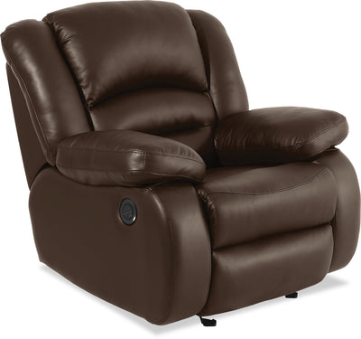 Toreno Genuine Leather Power Recliner - Brown|Fauteuil à inclinaison électrique Toreno en cuir véritable - brun|TOR4BRPC