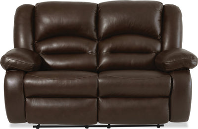 Toreno Genuine Leather Reclining Loveseat - Brown - {Contemporary} style Loveseat in Brown {Plywood}, {Solid Woods}
