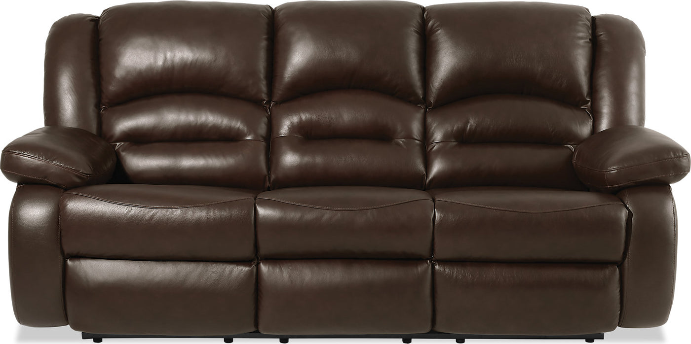 Picture of: Toreno Genuine Leather Reclining Sofa Brown The Brick