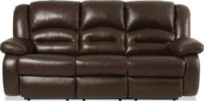 Toreno Genuine Leather Reclining Sofa - Brown - {Contemporary} style Sofa in Brown {Plywood}, {Solid Woods}