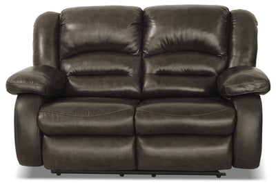 Toreno Genuine Leather Reclining Loveseat - Grey|Causeuse inclinable Toreno en cuir véritable - grise|TOR4GYRL
