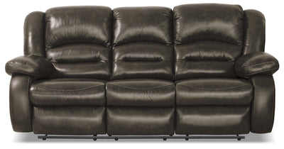 Toreno Genuine Leather Reclining Sofa - Grey - {Contemporary} style Sofa in Grey {Plywood}, {Solid Woods}