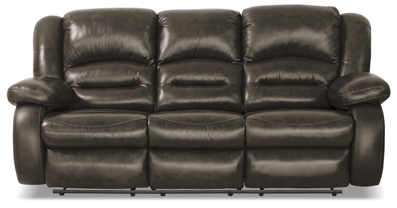 Toreno Genuine Leather Power Reclining Sofa – Grey|Sofa à inclinaison électrique Toreno en cuir véritable - gris|TORGR3PS