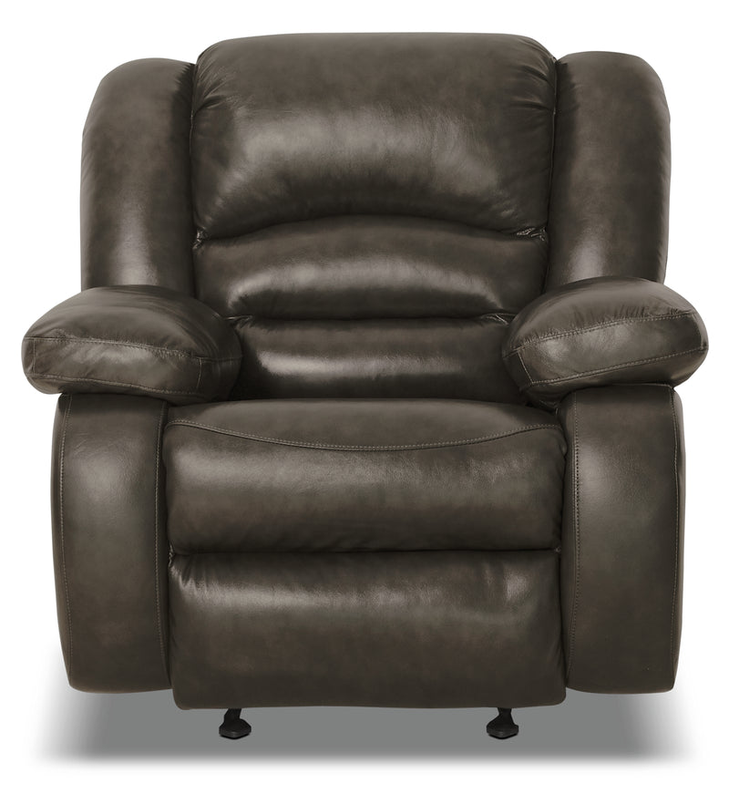 Toreno Genuine Leather Reclining Chair - Grey|Fauteuil inclinable Toreno en cuir véritable - gris