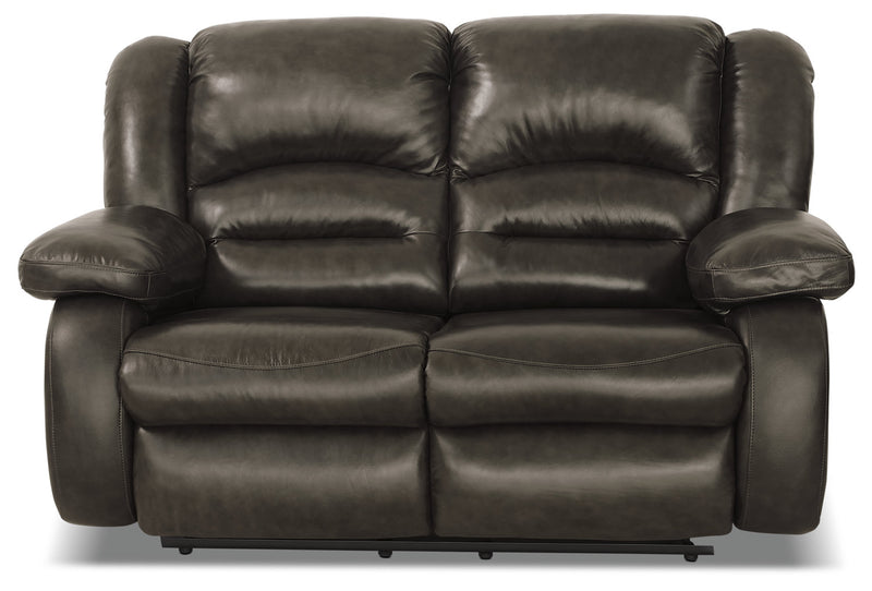 Toreno Genuine Leather Reclining Loveseat - Grey|Causeuse inclinable Toreno en cuir véritable - grise