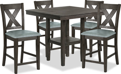Tribeca 5-Piece Counter-Height Dining Package - {Rustic} style Dining Room Set in Dark Grey-Brown {Acacia}