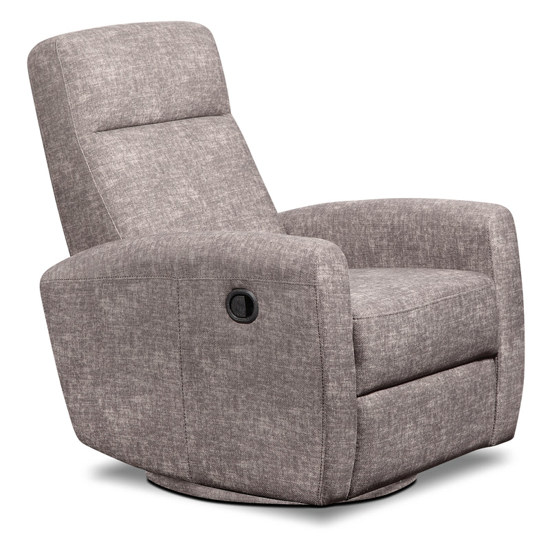 Trish Velvet Swivel Glider Recliner – Grey|Fauteuil pivotant, coulissant et inclinable Trish en velours - gris
