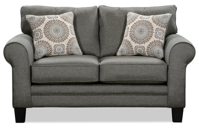 Tula Fabric Loveseat – Steel - Traditional style Loveseat in Steel