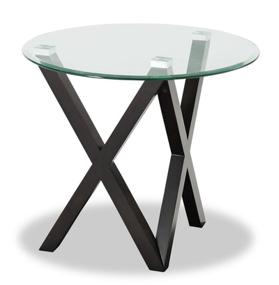 Tulita End Table - Modern style End Table in Espresso Glass and Wood