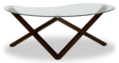 Tulita Coffee Table - Modern style Coffee Table in Dark Brown Glass and Wood