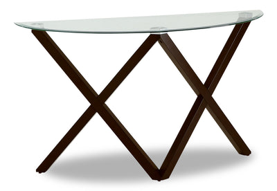 Tulita Sofa Table - Modern style Sofa Table in Dark Brown Glass and Wood