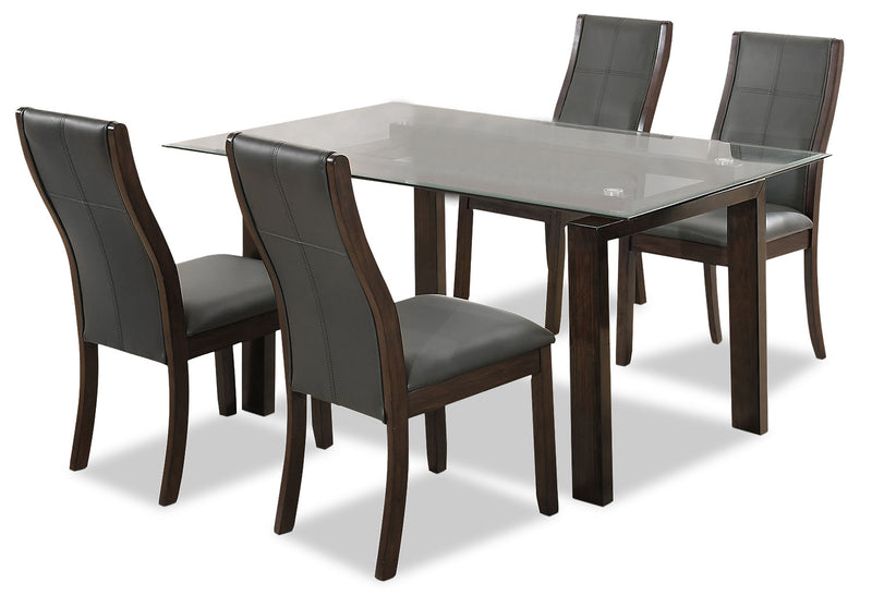 Tyler 5-Piece Dining Package -  Grey - {Retro} style Dining Room Set