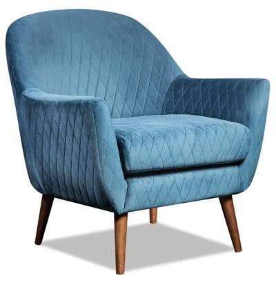 Venice Velvet Accent Chair - Blue - {Glam}, {Modern} style Accent Chair in Blue {Plywood}, {Solid Woods}