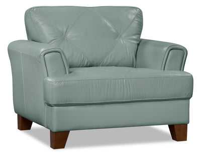 Vita 100% Genuine Leather Chair – Sea Foam - Retro style Chair in Seafoam