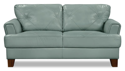 Vita 100% Genuine Leather Loveseat – Sea Foam - Retro style Loveseat in Seafoam