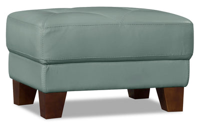 Vita 100% Genuine Leather Ottoman – Sea Foam|Pouf Vita en cuir 100 % véritable - écume de mer|VITA-O