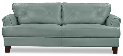 Vita 100% Genuine Leather Sofa – Sea Foam - Retro style Sofa in Seafoam