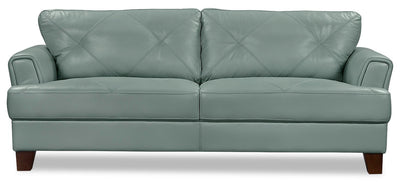 Vita 100% Genuine Leather Sofa – Sea Foam|Sofa Vita en cuir 100 % véritable - écume de mer|VITA-S - Open-Box