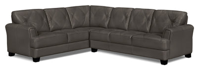 Vita 2-Piece 100% Genuine Leather Left-Facing Sectional – Charcoal|Sofa sectionnel de gauche Vita 2 pièces en cuir 100 % véritable - anthracite|VITACCSL