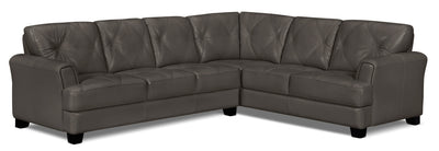 Vita 2-Piece 100% Genuine Leather Right-Facing Sectional – Charcoal|Sofa sectionnel de droite Vita 2 pièces en cuir 100 % véritable - anthracite|VITACCSR