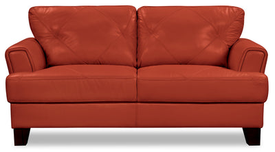 Vita 100% Genuine Leather Loveseat – Terracotta|Causeuse Vita en cuir 100 % véritable - terracotta|VITATCLV