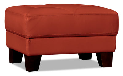 Vita 100% Genuine Leather Ottoman – Terracotta|Pouf Vita en cuir 100 % véritable - terracotta|VITATCOT