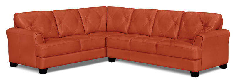 Vita 2-Piece 100% Genuine Leather Left-Facing Sectional - Terracotta