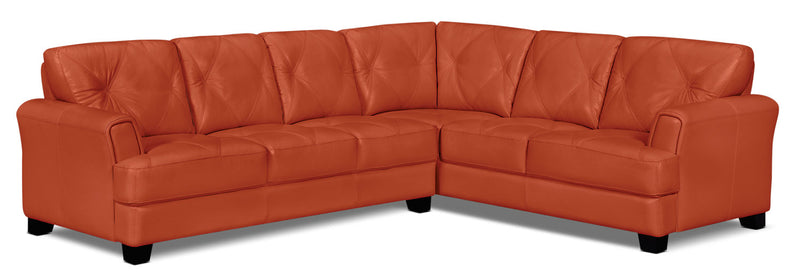 Vita 2-Piece 100% Genuine Leather Right-Facing Sectional - Terracotta