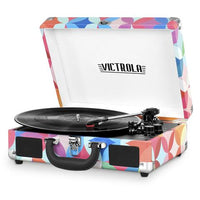 Victrola Bluetooth Portable Suitcase Record Player with 3-Speed Turntable - Pink Geometric