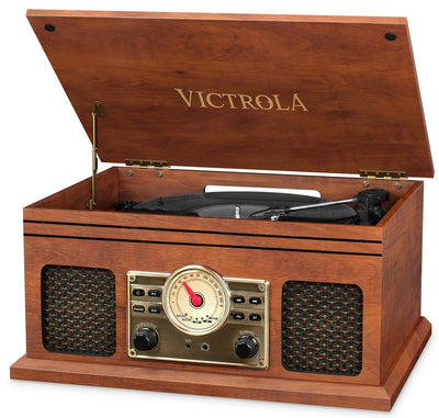 Innovative Technology Electronics Llc Bluetooth Speaker - Victrola Nostalgic 4-in-1 Bluetooth Record Player with 3-Speed Turntable and FM Radio